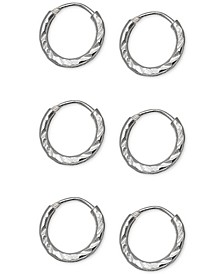 "3-Pc. Set Extra Small Textured Endless Hoop Earrings in Sterling Silver, 0.39"", Created For Macy's"