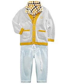 Baby Boys Smiley-Face Cardigan, Plaid Shirt & Patched Jeans, Created For Macy's