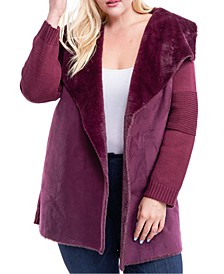 Plus Size Mixed-Media Faux-Fur Lined Coat