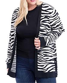 Plus Size Zebra-Print Open-Front Cardigan