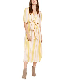 Striped Tie-Front Maxi Dress
