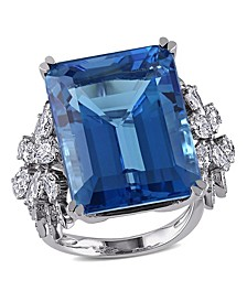 Blue Topaz (28 1/4 ct. t.w.) and Diamond (1 3/4 ct. t.w.) Ring in 14k White Gold