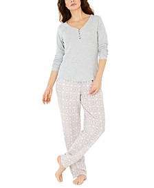 Ribbed Pajama Top & Super Cozy Printed Pajama Pants Separates, Created for Macy's