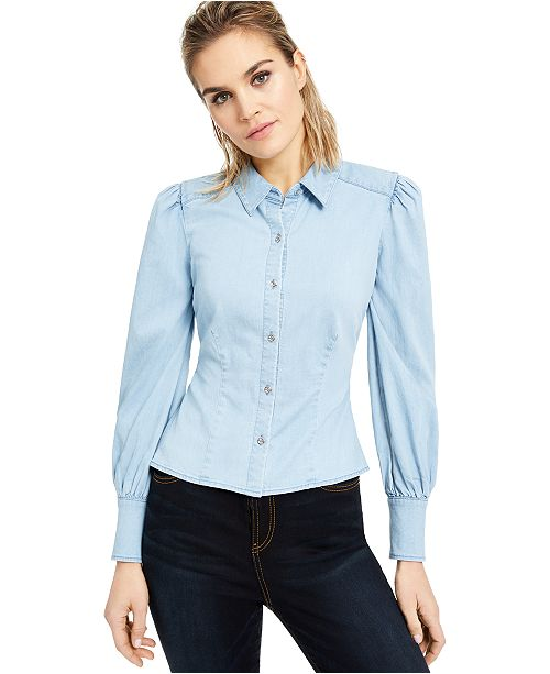 INC International Concepts INC Puff-Sleeve Button-Up Shirt, Created For Macy's