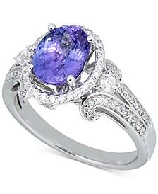 Tanzanite (1-1/2 ct. t.w.) & Diamond (1/2 ct. t.w.) Ring in 14k White Gold