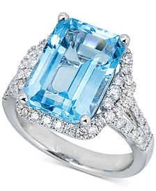 Swiss Blue Topaz (10 ct. t.w.) & Diamond (7/8 ct. t.w.) Ring in 14k White Gold