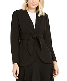 Tie-Waist Collarless Blazer, Created For Macy's