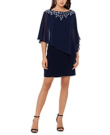 Cold-Shoulder Chiffon-Overlay Sheath Dress