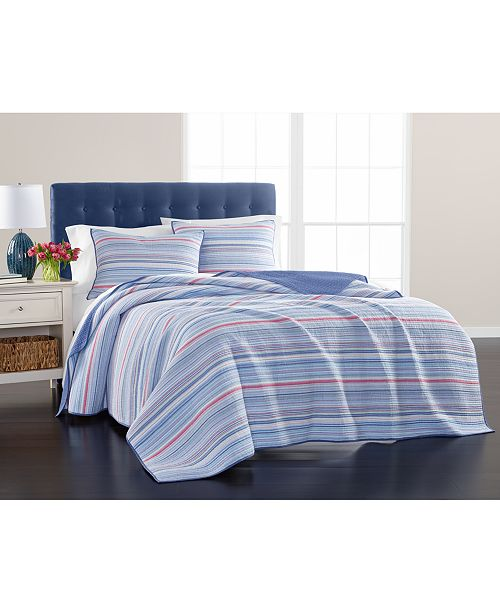 Martha Stewart Collection Reversible Poppy Flora Yarn Dye Full/Queen Quilt, Created For Macy's