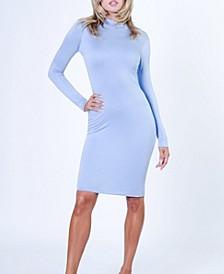 Long Sleeve Bodycon Mock Neck Solid Midi Dress
