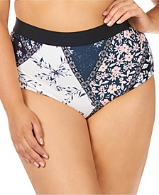 Trendy Plus Size Las Brisas Printed Island High-Waist Tummy Control Bikini Bottoms