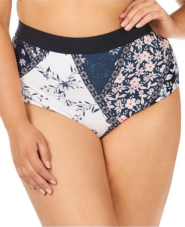 Raisins Curve Trendy Plus Size Las Brisas Printed Island High-Waist Tummy Control Bikini Bottoms