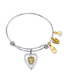 """Angels Above Give Faith Hope and Love""Angel Wing Bangle Bracelet in Stainless Steel & Gold-Tone"