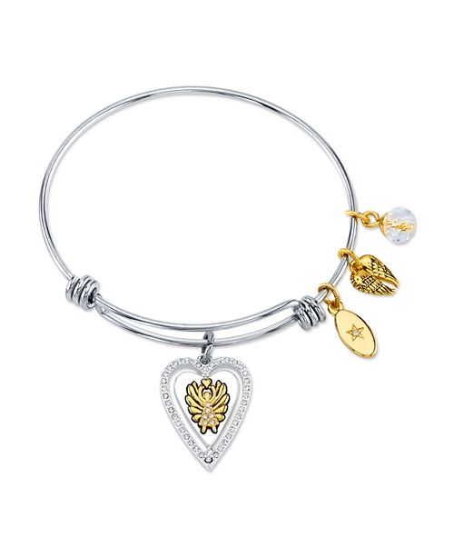 """Unwritten """"Angels Above Give Faith Hope and Love""""Angel Wing Bangle Bracelet in Stainless Steel & Gold-Tone"""