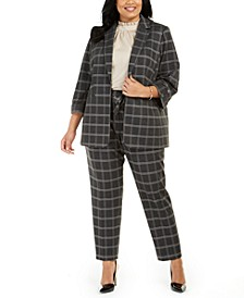 Plus Size Plaid Roll-Tab Blazer, Ruffle-Neck Top & Plaid Tie-Waist Dress Pants