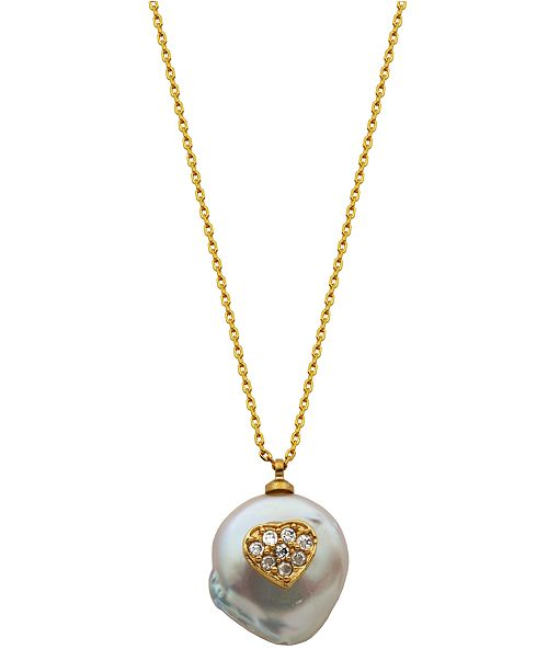 Macy's Pearl with Heart Necklace in Fine Silver Plate