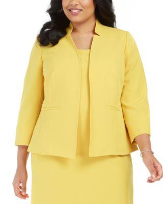 Plus Size Stand-Collar Blazer