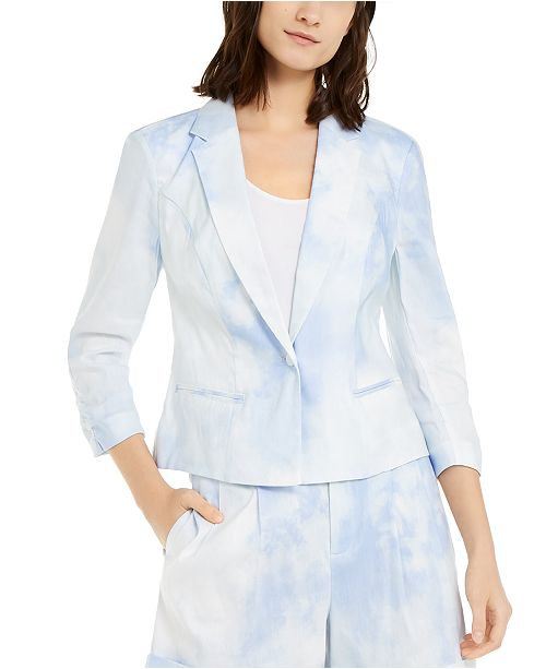 INC International Concepts INC Short Tie-Dye Linen-Blend Blazer, Created for Macy's