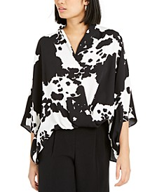 Printed Oversized Surplice Blouse, Created For Macy's