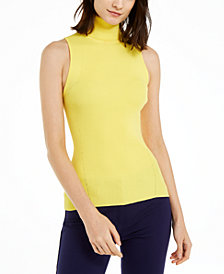 Anne Klein Sleeveless Ribbed Turtleneck Sweater