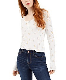 Juniors' Floral Henley Top