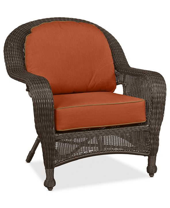 Furniture Monterey Wicker Outdoor Club Chair: with Custom Sunbrella®,  Created for Macy's
