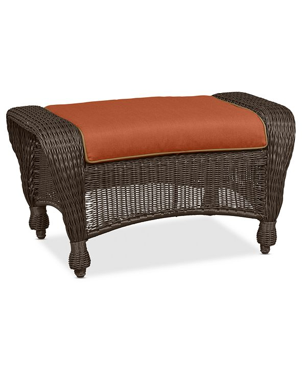 Furniture Monterey Wicker Outdoor Ottoman: with Custom Sunbrella®,  Created for Macy's