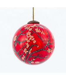 "by Overstockart Branches of An Almond Tree in Blossom, Red Hand Painted Glass Ornament by Vincent Van Gogh, 3.5"" x 3.5"", 3.5"" x 3.5"""