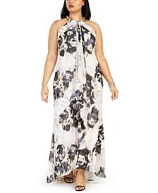 Plus Size Floral-Print Chiffon Gown