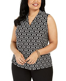 Plus Size Diamond-Print Sleeveless Top