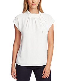 Tie-Neck Extended-Shoulder Top