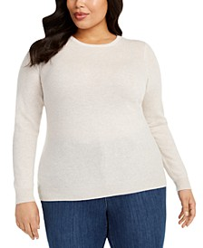 Plus Size Crewneck Cashmere Sweater, Created for Macy's