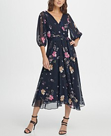 Balloon Sleeve Chiffon Midi Dress