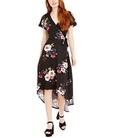 Juniors' Floral-Print High-Low Dress