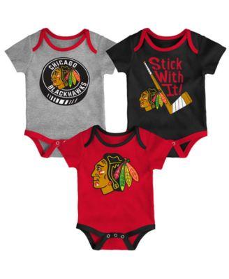 OuterStuff Chicago Blackhawks Baby Infant Girls Creeper Bodysuit Set of 3
