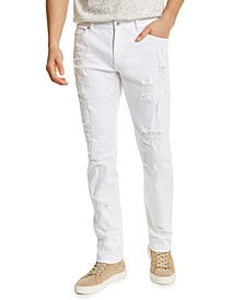 Men's Ripped White Jeans with Recycled Repreve, Created for Macy's