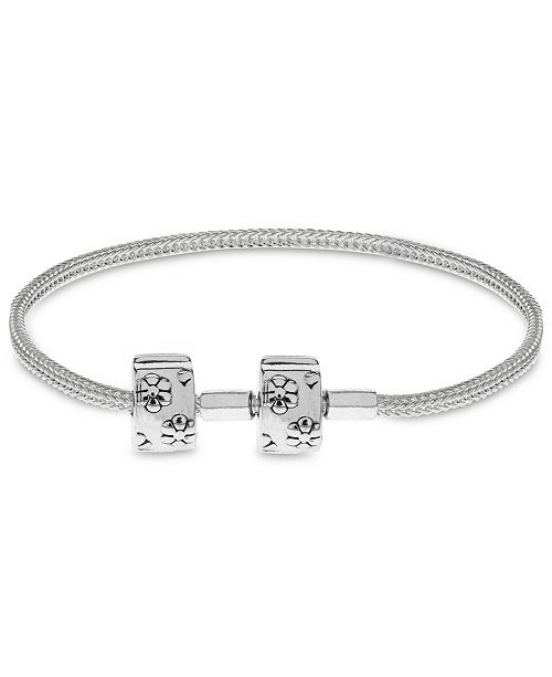 Rhona Sutton Children's  Floral Clasp Foxtail Chain Charm Carrier Bracelet with Stopper in Sterling Silver