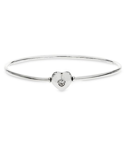 Rhona Sutton Children's  Charm Carrier Bangle with Crystal Accented Heart Clasp in Sterling Silver