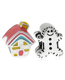 Children's  Enamel House Gingerbread Man Bead Charms - Set of 2 in Sterling Silver