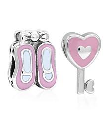 Children's  Enamel Ballet Slippers Heart Key Bead Charms - Set of 2 in Sterling Silver
