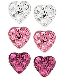 Children's  Fuchsia, Rose, White Crystal Heart Stud Earrings - Set of 3 in Sterling Silver