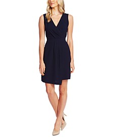 Surplice-Neck Asymmetrical-Hem Dress