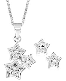 Children's  Cubic Zirconia Stars Pendant Necklace Stud Earrings Set in Sterling Silver