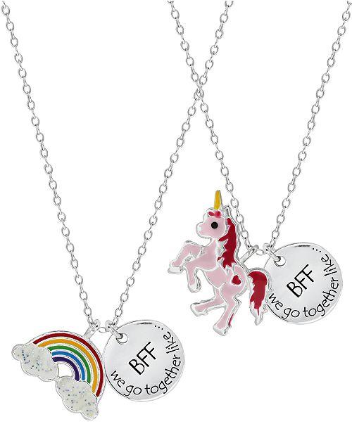 Rhona Sutton Children's  Rainbow Unicorn Best Friends Two Piece Necklace Set in Sterling Silver
