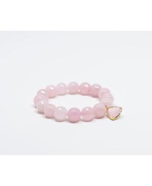 Faceted Rose Quartz Gemstone with Blush Pink Crystal Pendant Bracelet