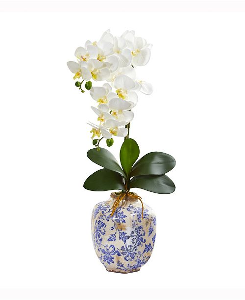 Nearly Natural 25in. Phalaenopsis Orchid Artificial Arrangement in Decorative Vase