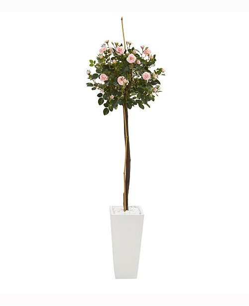 Nearly Natural 5ft. Rose Topiary Artificial Tree in White Planter