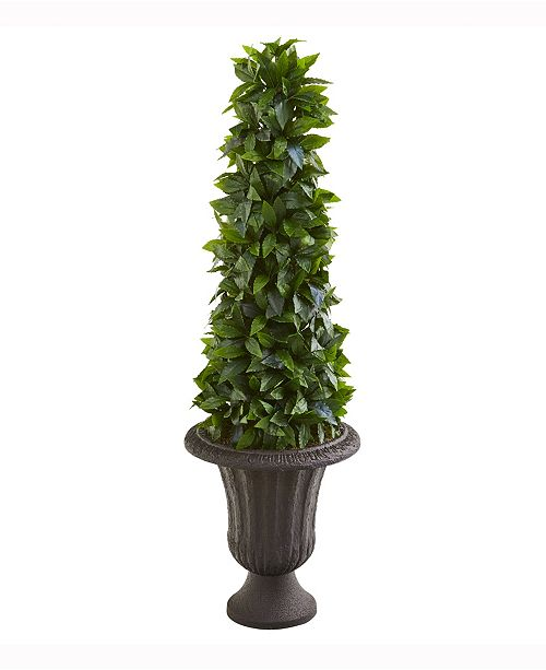 Nearly Natural 40in. Sweet Bay Cone Topiary Artificial Tree in Decorative Brown Urn