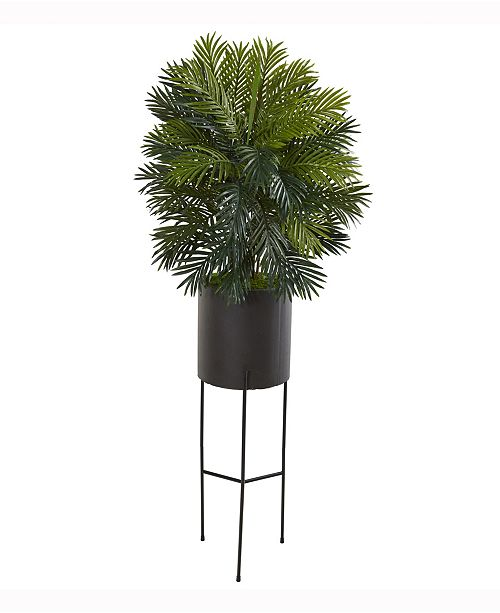 Nearly Natural 66in. Areca Palm Artificial Plant in Stand Black Planter