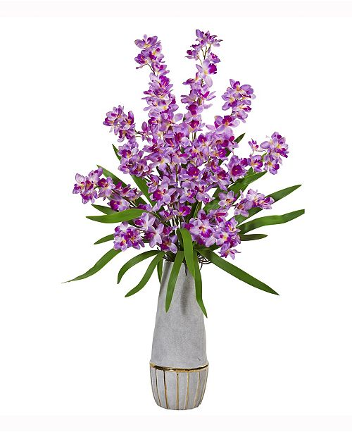 Nearly Natural 37in. Orchid Artificial Arrangement in Stoneware Oval Vase with Gold Trimming